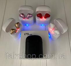 Беспроводные наушники Bluetooth i7S TWS с кейсом черные, фото 3