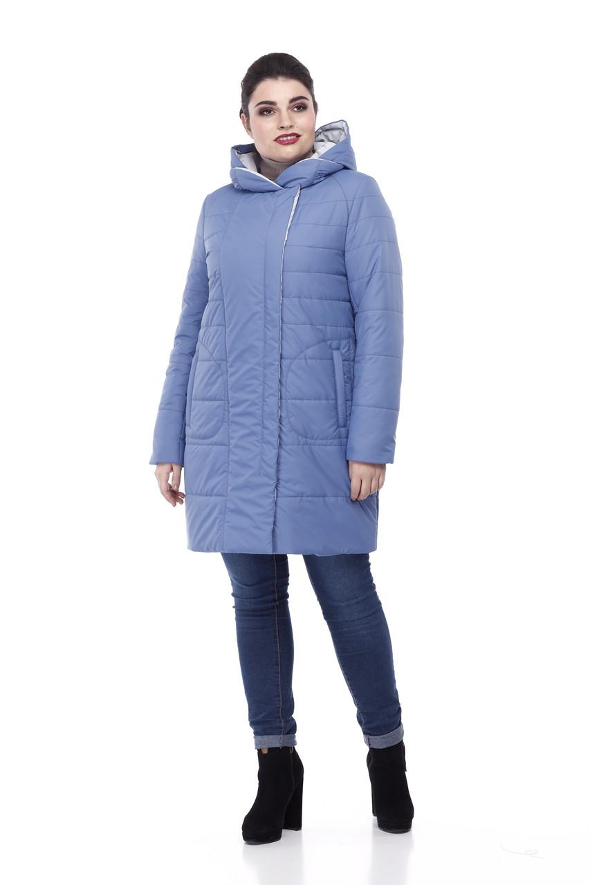 52-64 размеры Женская зимняя куртка пуховик выше колена на морозы двойная
