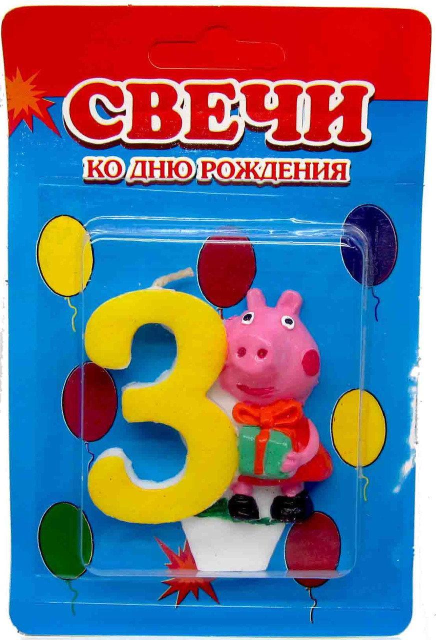 """Свічка для торту. Цифра """"3"""", Свинка Пеппа"""
