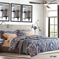 Евро постельное белье синего цвета в спальню Viluta ранфорс