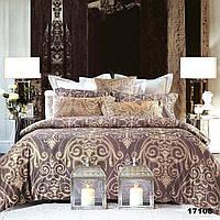 Двуспальное постельное белье Viluta с ранфорса в коричневом цвете