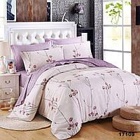 Белый полуторной комплект постельного белья с сиреневыми цветами Viluta ранфорс
