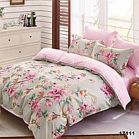 Женское двуспальное постельное белье Viluta ранфорс с цветами