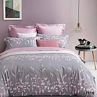 Серое евро постельное белье с розовыми цветами Viluta с ранфорса