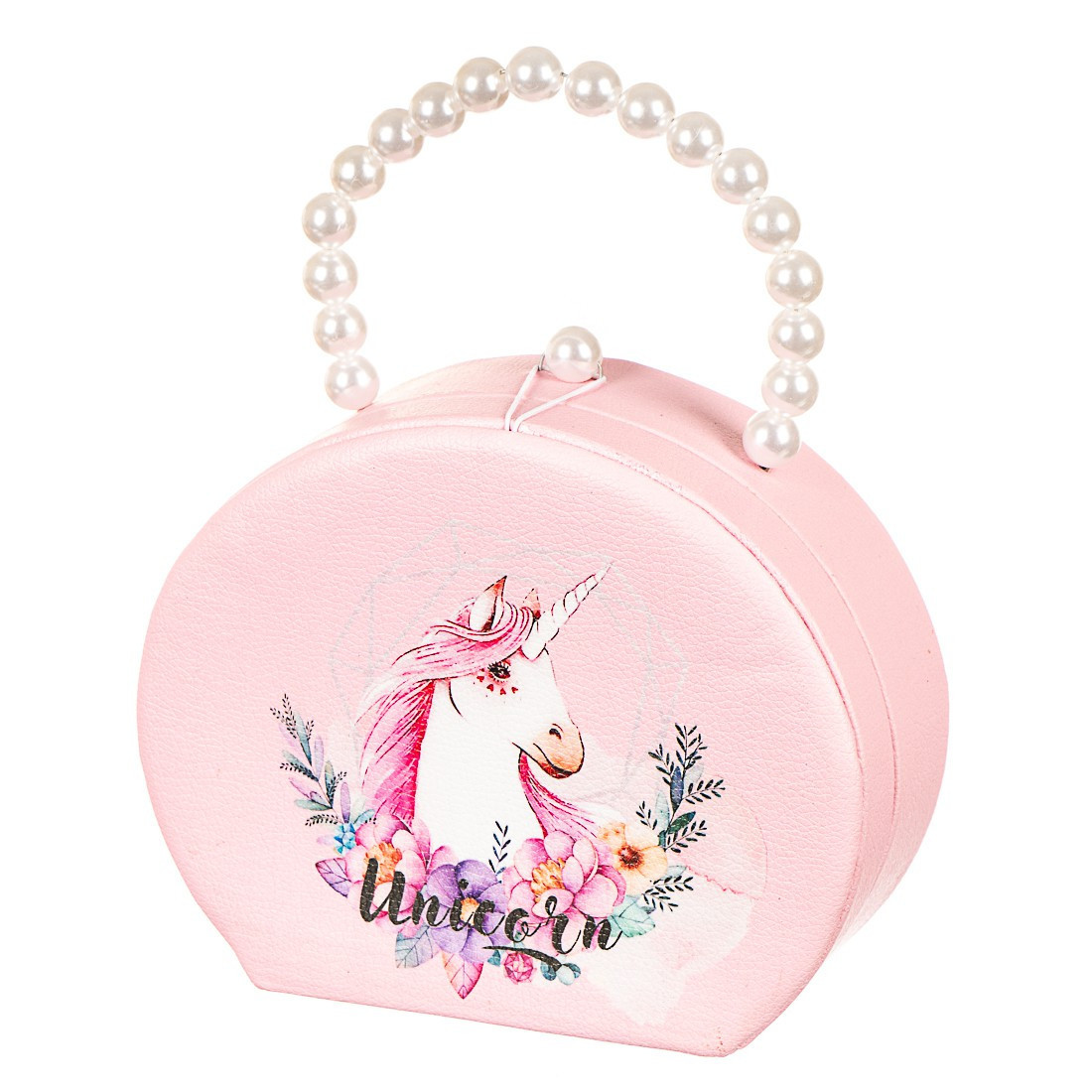 Шкатулка сумочка для украшений розовая кейс для прикрас Единорог Unicorn Studio 18х14х7 см 0608JA