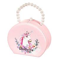 Шкатулка сумочка для украшений розовая кейс для прикрас Единорог Unicorn Studio 18х14х7 см 0608JA, фото 1