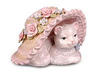 Музыкальная статуэтка Кошка в шляпе 9 см фарфор 461-140