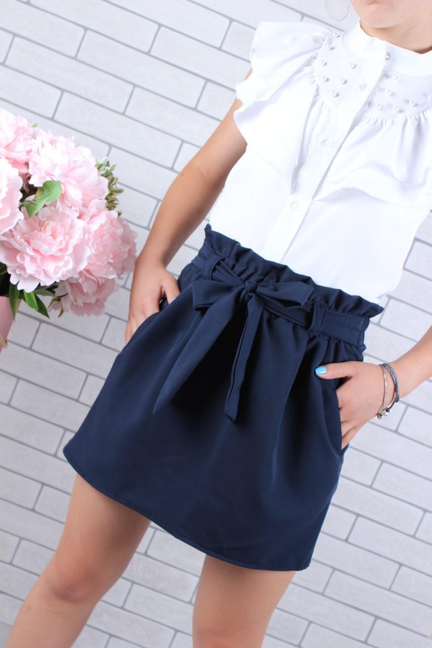 Школьная юбка для девочки р. 128-158 синяя