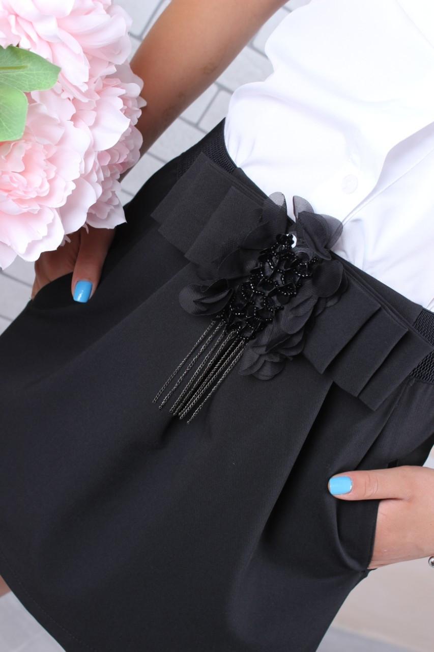 Школьная юбка для девочки р. 128-158 черная
