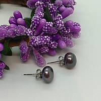 Серьги пуссеты из речного жемчуга фиолетового оттенка