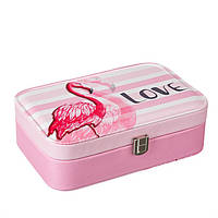 Шкатулка для украшений розовая кейс для прикрас Unicorn Studio Фламинго 14,5х22,5см300JH органайзер, фото 1