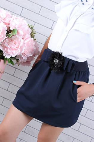 Школьная юбка для девочки р. 128-158 синяя, фото 2