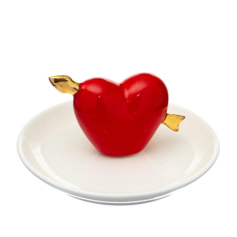 Блюдце для ювелирных украшений Сердце 10х7 см 019NG тарелочка для бижутерии для прикрас сердечко