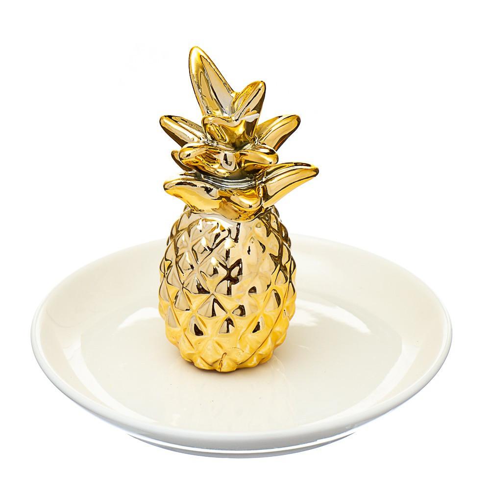 Блюдце для ювелирных украшений Ананас 10х11 см 017NG тарелочка для бижутерии для прикрас подставка