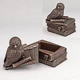 Шкатулка Veronese Сова 12 см 75510 статуэтка совы веронезе с книгами на книгах, фото 2
