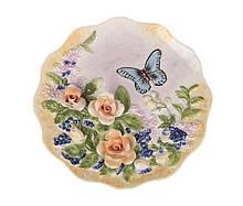 Декоративная тарелка Бабочка в мальвах 20 см 59-561 настенная керамическая декор на стену цветы