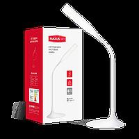 Настольная умная лампа MAXUS DKL 6W (аккумулятор, димминг) белая, квадрат 1-DKL-001-01