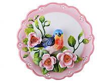 Тарелка декоративная Соловей 20 см 59-171 настенная керамическая декор на стену птица