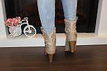 Сапоги летние женские бежевые на каблуке Б880, фото 3
