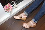 Босоножки женские розовые на танкетке натуральная кожа Б257, фото 4