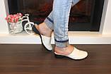 Шлепанцы сабо женские бежевые натуральная кожа на небольшом каблуке Б250, фото 5