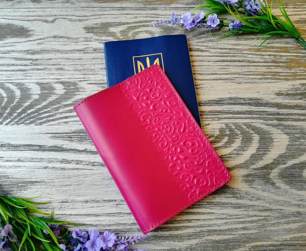 Обложка на паспорт розовые восточные узоры (глянцевая)