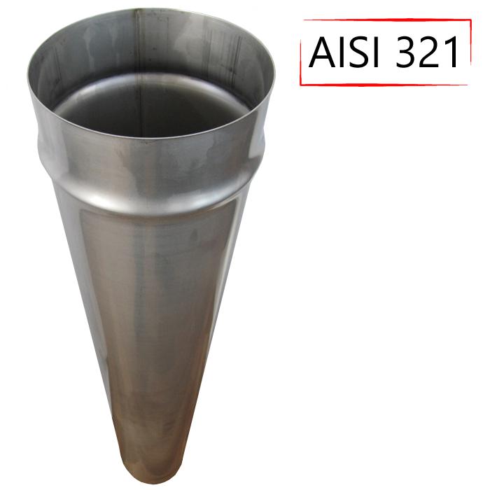 Труба дымоходная D-130 мм S-0,8 мм L-1 метр AISI 321 из нержавеющей стали - «Stalar»
