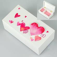 Деревянная шкатулка белая 18х9х7 cм 038ТР кейс для украшений для прикрас сердце сердечко