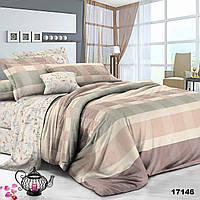 Евро постельное белье для дома в полоску разных цветов Viluta с ранфорса