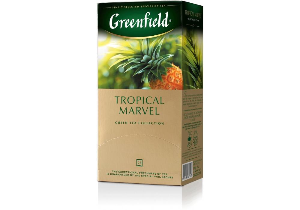 Пакетированный чай Greenfield Tropical Marvel 1,5 грамм 25 пакетов (зеленый с имбирем и ананасом)