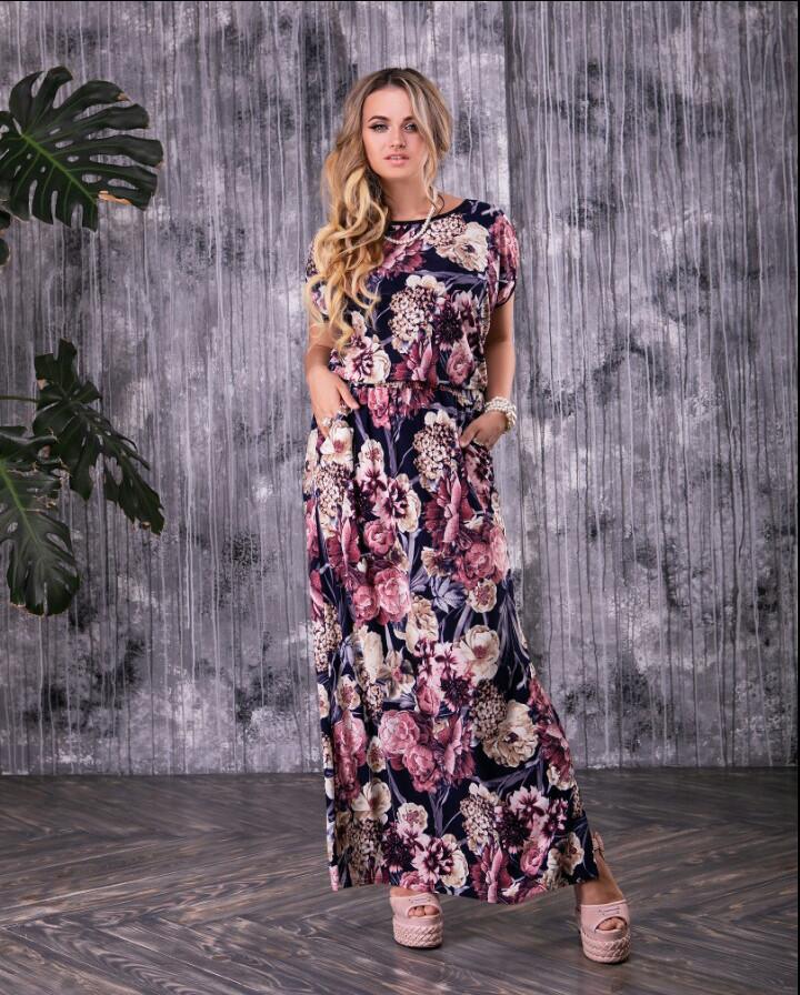 Длинное батальное летнее платье Феличе