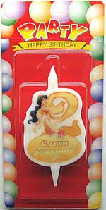 """Свеча для торта. Цифра """"2"""", Принцессы Дисней"""