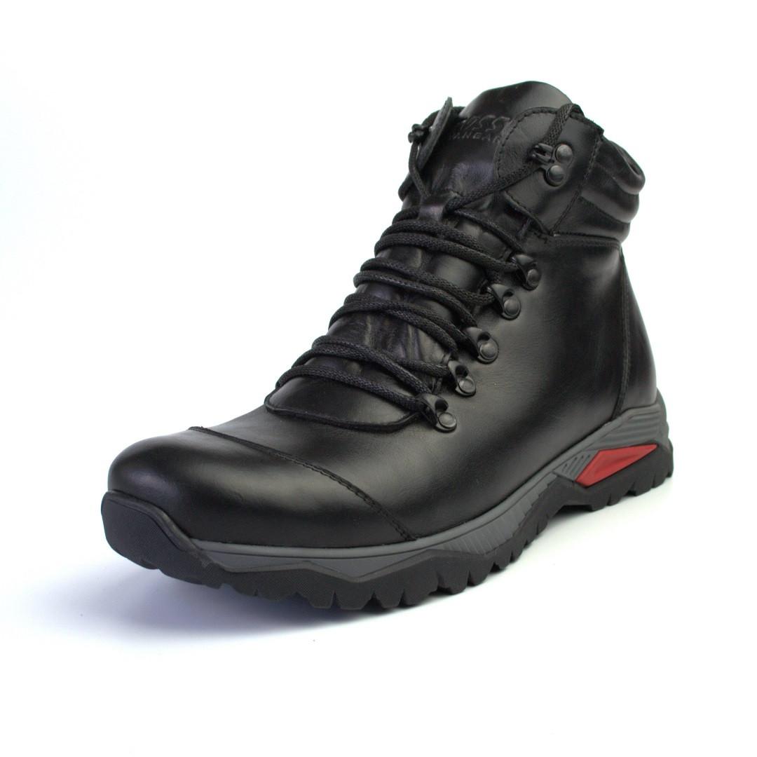 Зимові чорні шкіряні черевики на овчині чоловіче взуття Rosso Avangard Lomer Black Leather