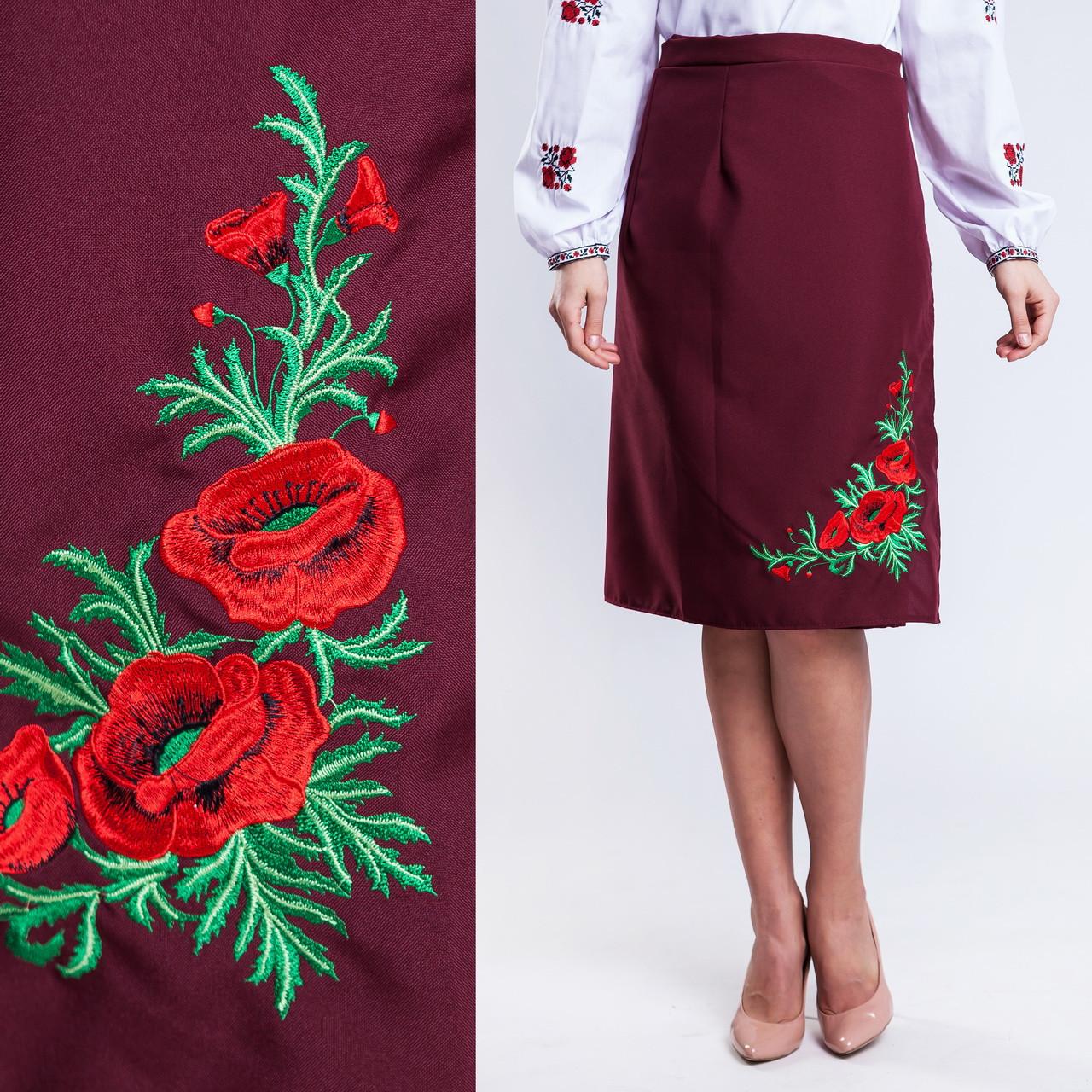 Бордовая женская юбка на запах с вышивкой Соломия батал 65 см