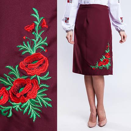 Бордовая женская юбка на запах с вышивкой Соломия батал 65 см, фото 2