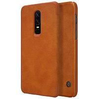 Кожаный чехол (книжка) Nillkin Qin Series для OnePlus 6