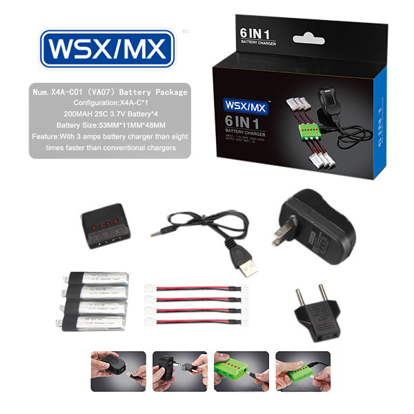4 в 1 зарядное устройство 3.7V 200mah 20 c литий-полимерный аккумулятор для wltoys v911 v911-1 v911-2 - 1TopShop