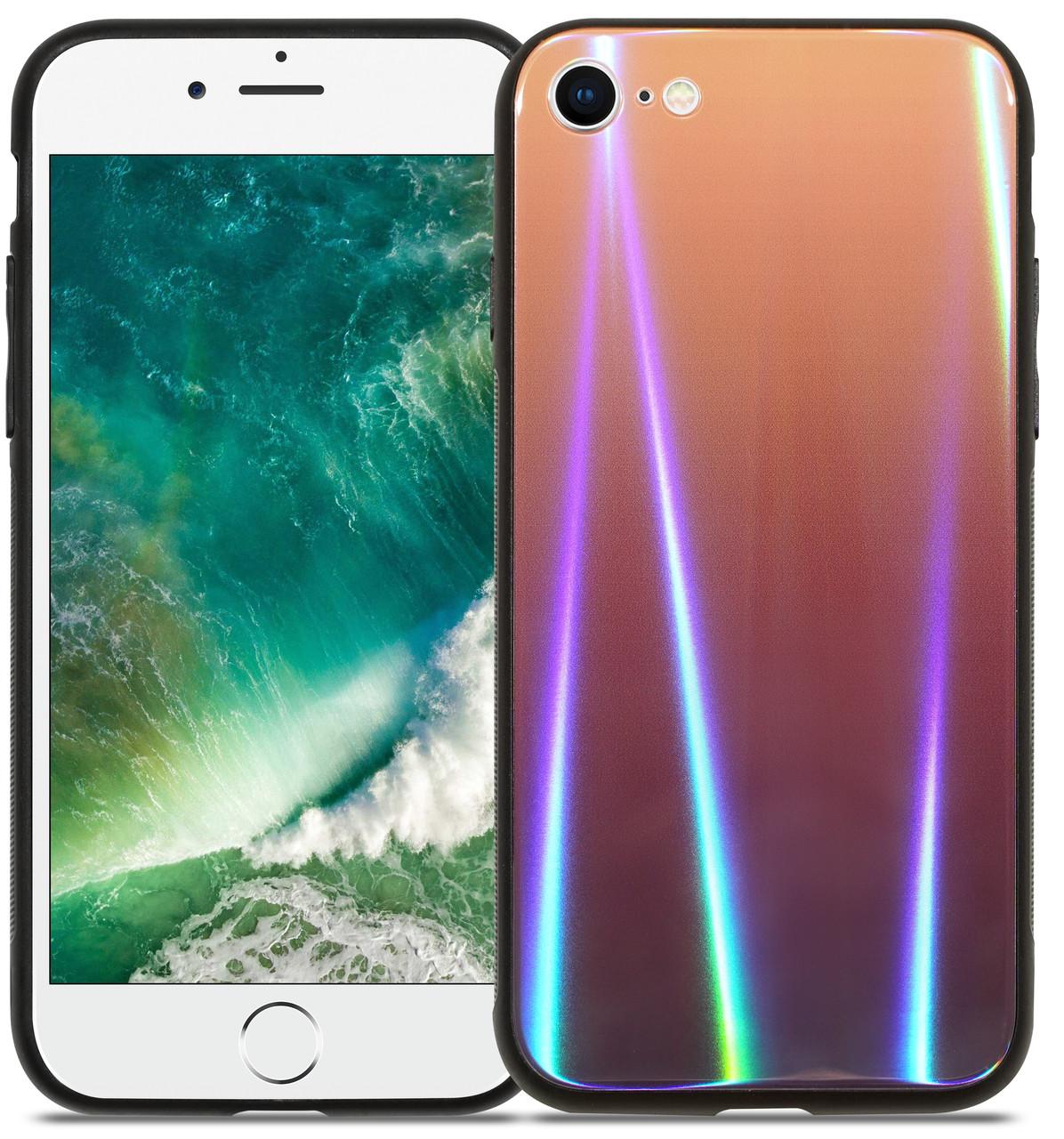 """Чехол накладка DEF для iPhone 7/8 (4.7 """") Gradient Glass Золотистый (459598)"""