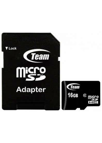 Карта памяти Team MicroSDHC 16GB Class 10 + SD-adapter
