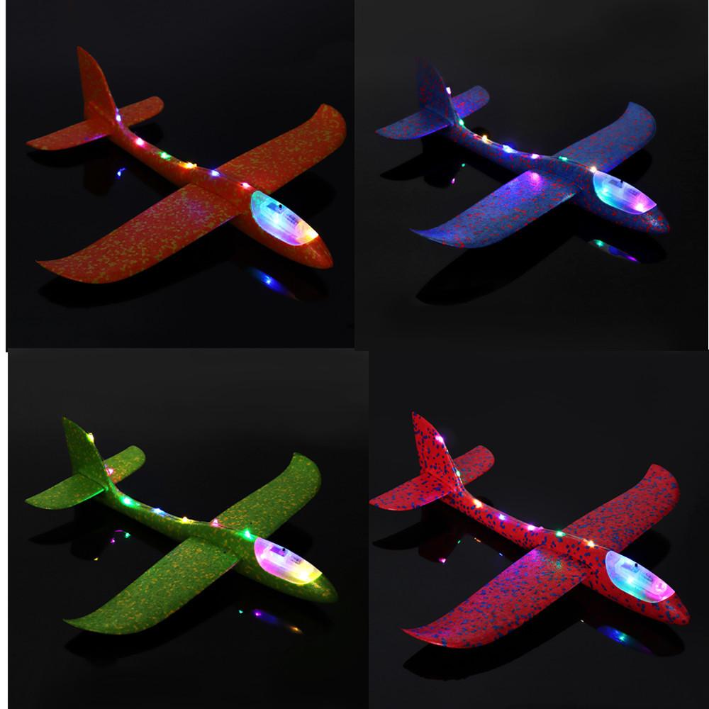 4PCS 19 '' Ручной запуск метательного самолета Самолет-планер DIY Инерциальная игрушка для самолетов EPP с Светодиодный - 1TopShop