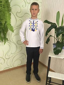 Вышиванка для мальчика Орнамент Сине - желтый Размер 98 - 140 см