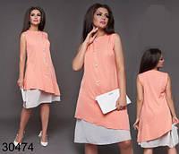 Двухслойное нарядное летнее платье для полных р.48-50,52-54,56-58 костюмка шифон