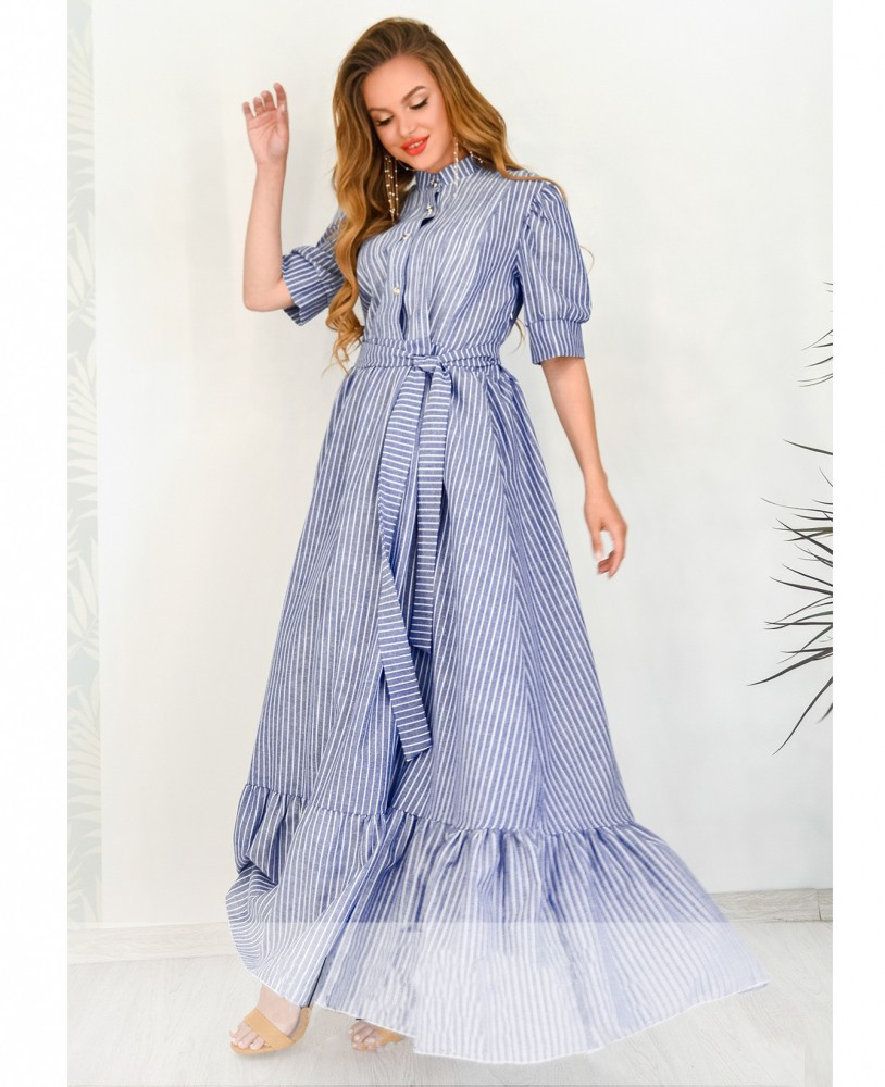Нежное воздушное льняное платье в пол с юбкой солнце с поясом 42-48