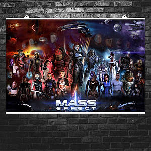 Постер Mass Effect, все персонажи, female Shepard. Размер 60x42см (A2). Глянцевая бумага