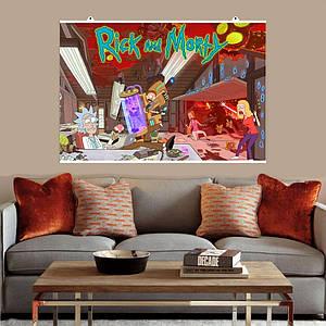 """Постер """"Лаборатория Рика"""", Rick and Morty, Рик и Морти (с лого). Размер 60x40см (A2). Глянцевая бумага"""