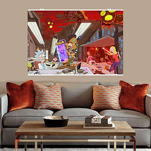 "Постер ""Лаборатория Рика"", Rick and Morty, Рик и Морти. Размер 60x40см (A2). Глянцевая бумага"
