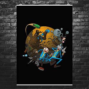 "Постер ""Rick and Morty: Fallout 4"". Рик и Морти, Фоллаут. Размер 60x43см (A2). Глянцевая бумага"