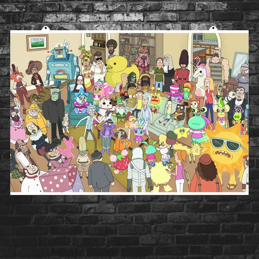 """Постер """"Паранойя"""". Рик и Морти, Rick and Morty. Размер 60x34см (A2). Глянцевая бумага"""