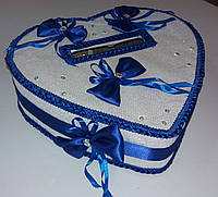 """Свадебный синий сундук для подарочных денег """"Сердце"""""""