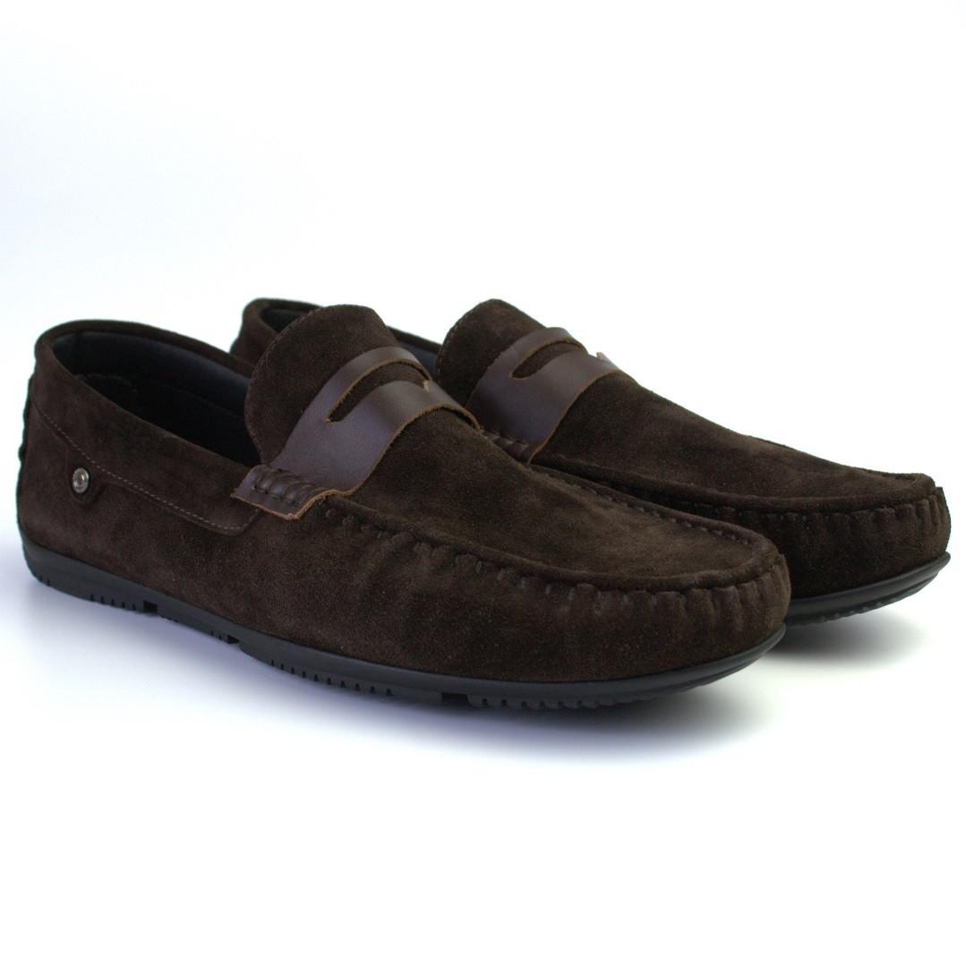 Мокасины мужские коричневые замшевые стильные обувь летняя ETHEREAL Classic Night Brown Vel by Rosso Avangard